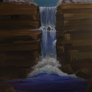 Destination Point-acrylic painting of waterfall splashing down on rocks into a lake