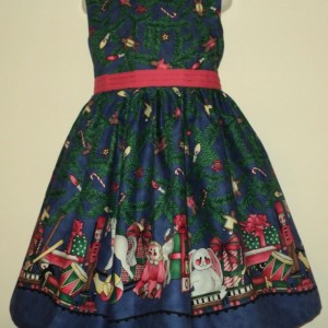 NEW Handmade Daisy Kingdom Pepper Mint Bears Christmas Sparkle Border Jumper Dress Custom Sz 12M-14Yrs
