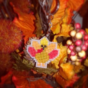 Thanksgiving Turkey Cross Stitch- Keychain or Magnet