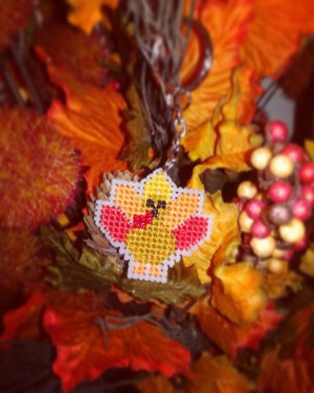Thanksgiving Turkey Cross Stitch- Keychain or Magnet