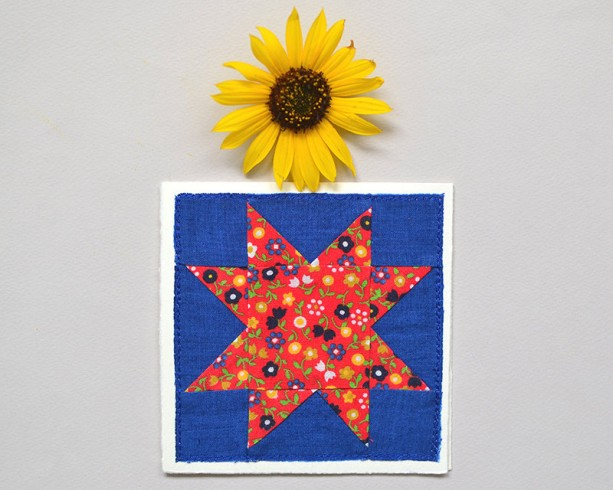Sawtooth star greeting card -- floral quilt block card