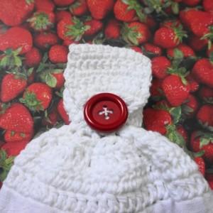 Fresh Strawberry Fruit Crochet Top Kitchen Towel, Set of 2