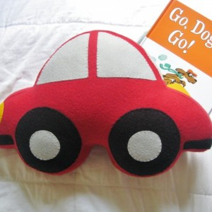 Large Felt Car Shaped Pillow / Boy's Room Decor / Baby Nursery Decor / Transportation Children's Room / Decorative Throw Pillow