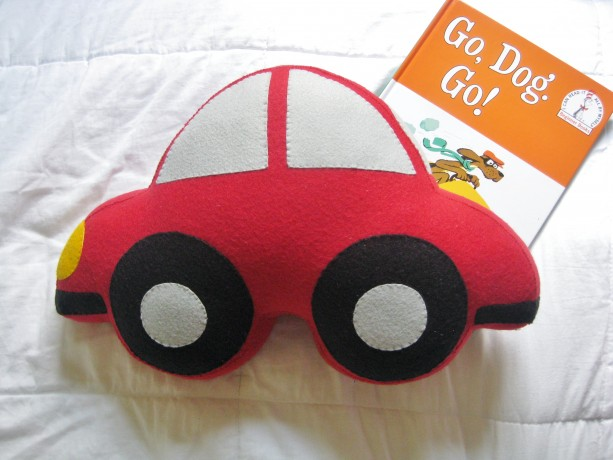 Large Felt Car Shaped Pillow / Boy's Room Decor / Baby Nursery Decor / Transportation Children's Room / Decorative Throw Pillow