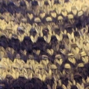 Hand Knit Scarf Blue & Silver Yarn Modified Linen Stitch