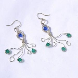 Wire wrap earrings, wire earrings, summertime, beach jewelry , blue and green octopus earrings, gifts for her, silver wire earrings,