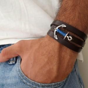Men's Bracelet - Men's Anchor Bracelet - Men's Leather Bracelet - Men's Jewelry - Men's Gift - Husband Gift - Boyfriend Gift - Gift For Dad