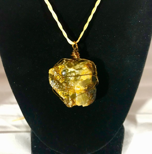 AMBER Healing Crystal Wrapped in Brass Wire (with choice of Necklace Strand Color)