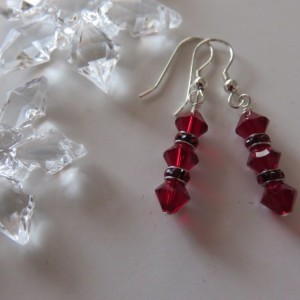 Ruby Red Earrings in sterling silver