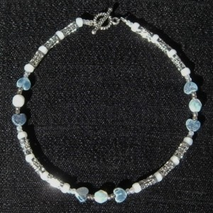 Silver and blue filigree  anklet
