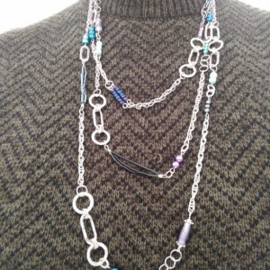 3 Strand Silver Embossed Layered Chain and Bead Necklace, Purple, Turquoise and Blue Bead Accented Rope Length Necklace, by Cumulus Luci