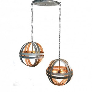 ATOM Collection - Dualistic - Wine Barrel Double Ring Chandelier / made from salvaged Napa wine barrels - 100% Recycled!