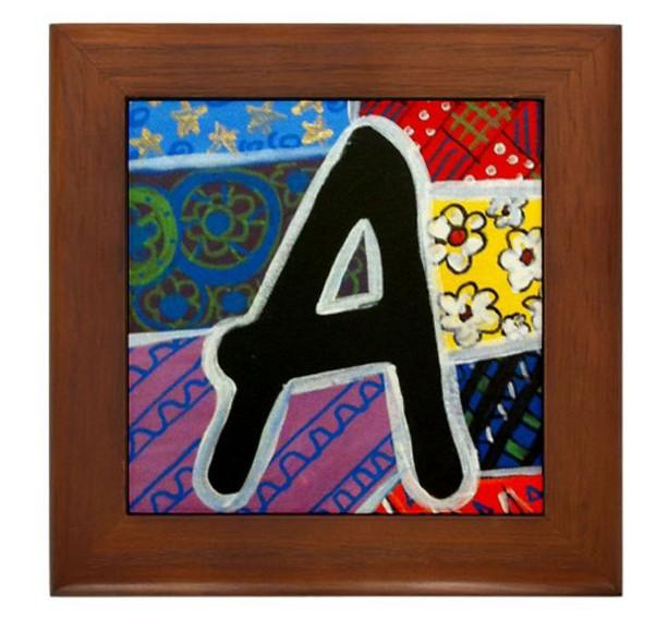 """Folk Art - Letter """"A"""" - FRAMED TILE By Artist A.V.Aposte"""