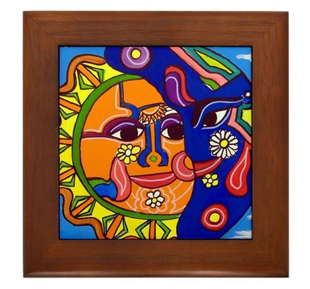 "Mexican Folk Art- ""Sugar & Moon"" - FRAMED TILE By Artist A.V.Aposte"