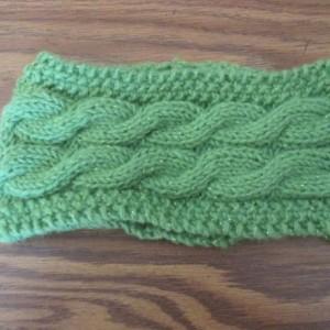 Hand Knit Headband/ Earmuff- Lime