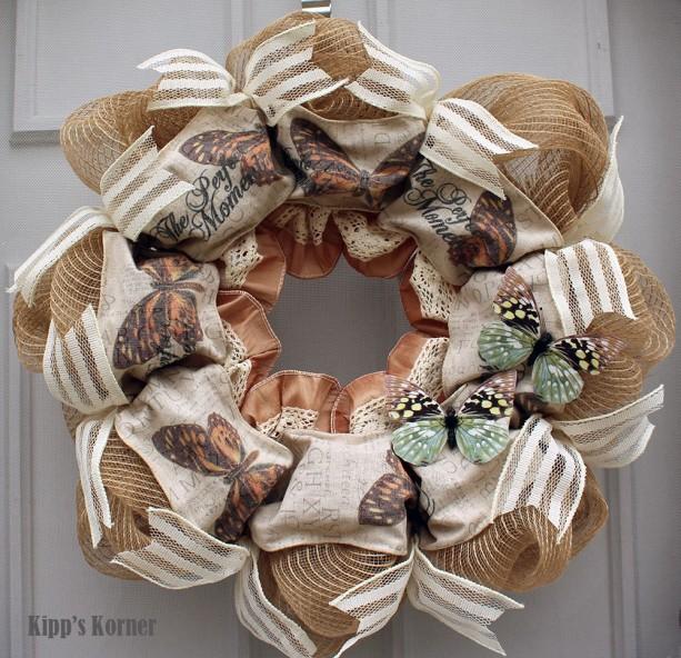 Butterfly Wreath, Deco Mesh Wreath, Natural Wreath, Mesh Wreath, Spring Wreath, Summer Wreath, Peach Wreath, Cream Wreath, Off White Wreath