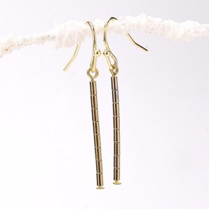 Thin Gold Hematite Tube Bar Earrings