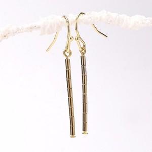 Thin Gold Hematite Tube Bar Earrings