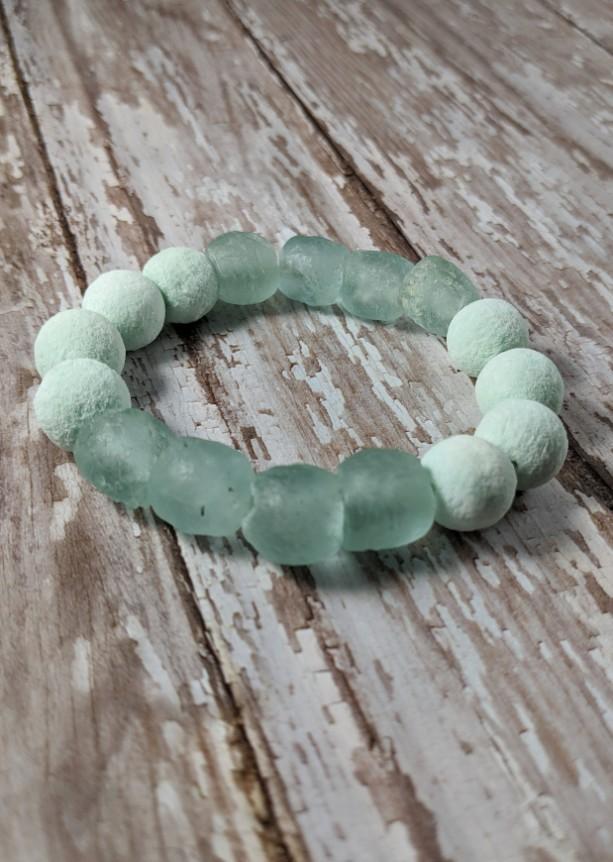 The Artemis | handmade bead bracelet, women's bracelets, aqua bracelet, African sea glass, coral sponge beads, beach jewelry, Gifts for Her