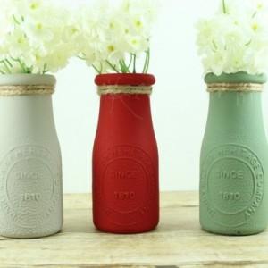 Hand-Painted Milk Bottles Set of 3 - Fall Decor - Farmhouse Decor - Bud Vase Set - Fall Colors - Small Flower Vase - Barnyard Birthday -