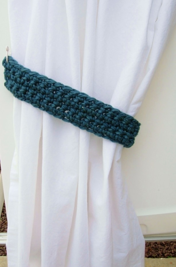 Dark Teal Green Blue Crochet Knit Curtain Window Tie Backs