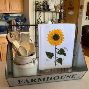 Sunflower towel, rustic sunflower decor, fall gift for her, flour sack dish towel,bathroom hand towel, mothers day from daughter, best sell