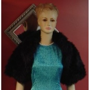 Black Faux Fur Wedding Bolero