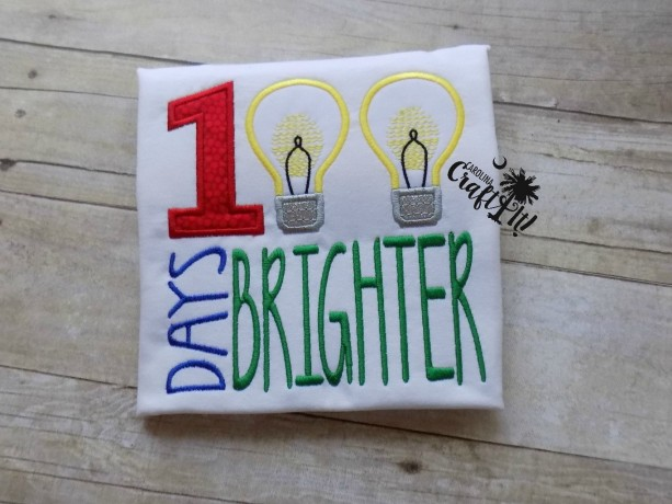 100 Days of School Boys Tshirt, Toddlers, Brighter, Light Bulbs, Personalized, Embroidered