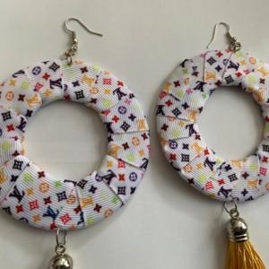 Yellow vuitton tassel earrings