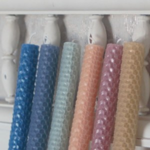 Cornflower Blue Rolled Honeycomb Beeswax Candles