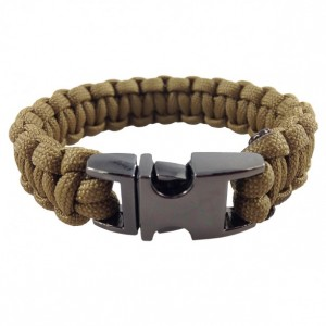 Coyote Brown Designer Unisex Braided Survival Mil-Spec Type III 550 Parachute Cord with Full Metal Alloy Quick Detach Buckle (Gun Metal)
