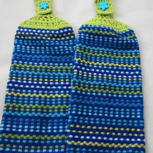 Royal Ocean Blues Crochet Top KitchenTowel, Set of 2