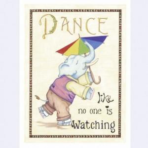 Whimsical Elephant Art Print, Elephant Illustration, Elephant Artwork, Inspirational Quote, Dance Artwork, Steampunk Elephant Colored Pencil