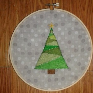 Christmas Tree Hand Embroidery Hoop- Wall Art (Original Design) *Only One Available!*