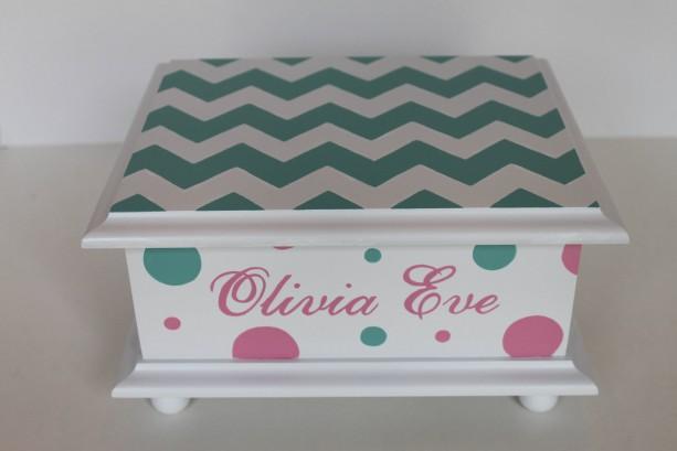Chevron and polka dots - Baby Keepsake Memory Box personalized baby gift