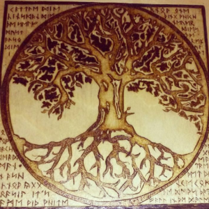 "Tree of Life with Elder Futhark Runes Pyrography Woodburning 6""x6"""