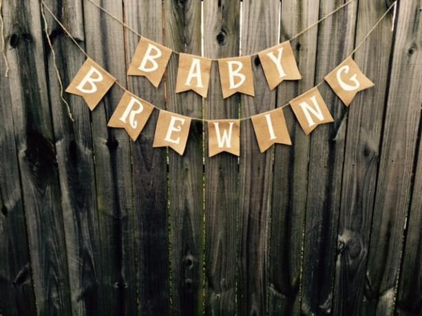 Burlap 'Baby Brewing' Banner