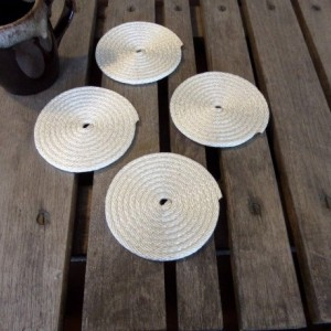 Set of 4 Navy or White Coasters Non Slip Rope Coasters Coastal Nautical Beach Rustic Decors Fun Gifts
