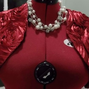 Red Rosette Bridal Bolero Fully Lined