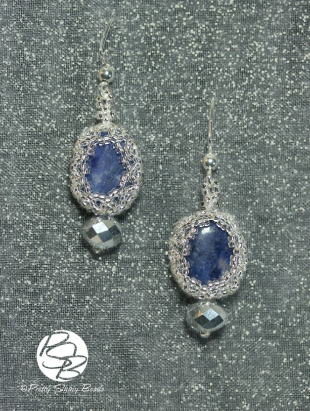 Silver Wrapped Lapis Lazuli Earrings