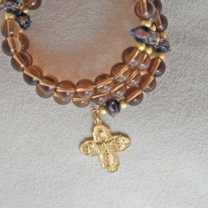 Rosary Bracelet of Smokey Topaz Glass and Lampwork Beads