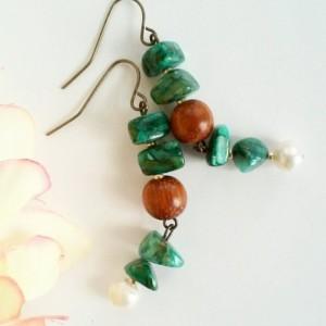 Boho Natural ~ Beaded Dangle Earrings ~ Rustic Earrings ~ Boho Style Earrings ~ Natural Stone Earrings ~ Gift for Her