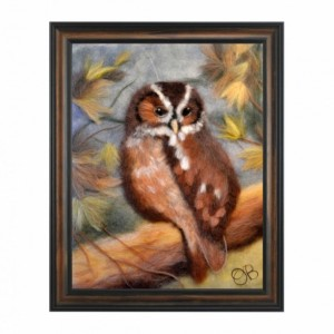 "Wool Painting ""Owl in the autumn forest"""