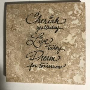 Custom Coasters-Non Stick Coasters-Personalized Coasters-Cherish, Live, Dream Coasters-Travertine Tile Coasters-Drink/Barware-Housewarming