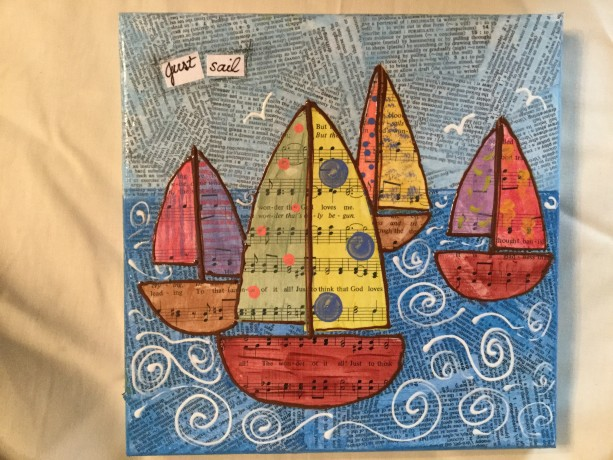 Mixed media just sail sailboats