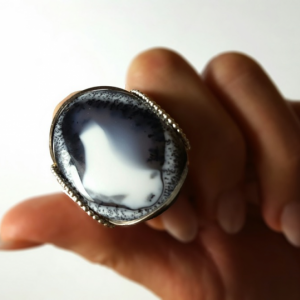 Handmade Dendritic Opal Ring Size 9.5 to 10.5 Sterling Silver