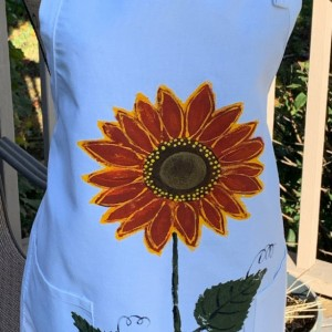 Sunflower apron for women, white apron with pockets, baking gifts, Christmas gift from daughter, rustic wedding gift, red orange sunflower