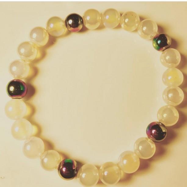 Exquisite, Gorgeous Moonstone/Rainbow Hematite Bracelet
