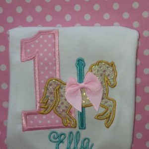 1st Birthday Carousel Horse Shirt or Bodysuit -  Baby Girl Birthday - Also Available as 2nd Birthday, 3rd Birthday etc.