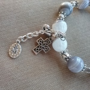 One Decade Rosary Bracelet of Agate, Silver Findings, Medals